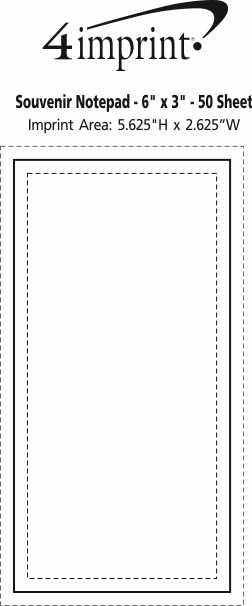"Imprint Area of Bic Non-Adhesive Notepad - 6"" x 3"" - 50 Sheet"
