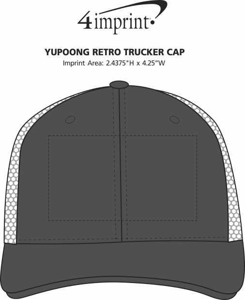 Imprint Area of Yupoong Retro Trucker Cap