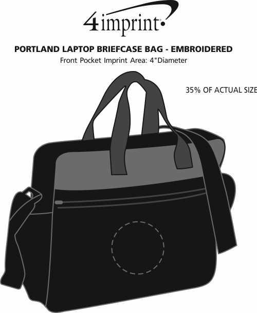 Imprint Area of Portland Laptop Briefcase Bag - Embroidered