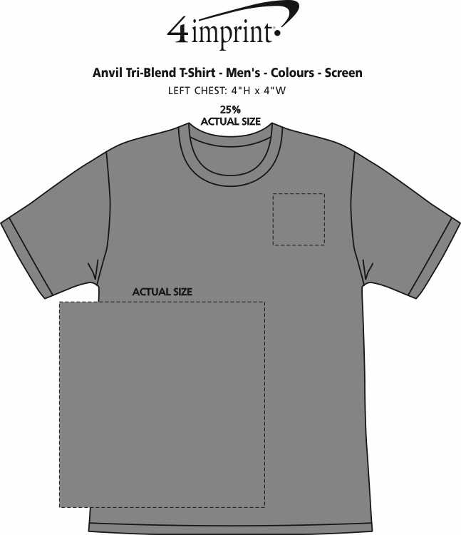 Imprint Area of Anvil Tri-Blend T-Shirt - Men's - Colours - Screen