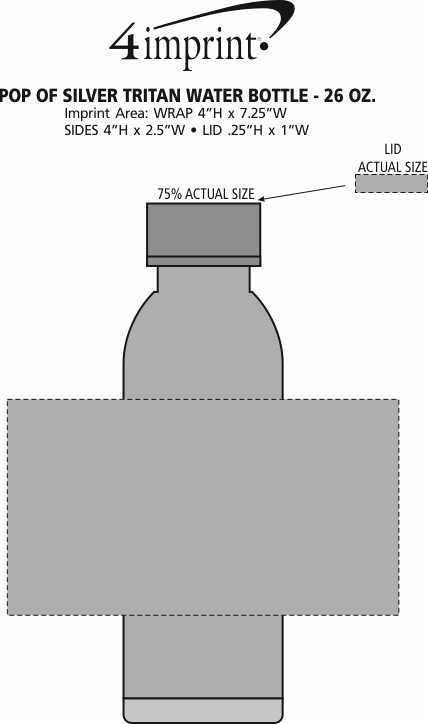 Imprint Area of Pop of Silver Tritan Water Bottle - 26 oz.