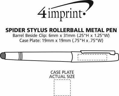 Imprint Area of Spider Rollerball Stylus Metal Pen