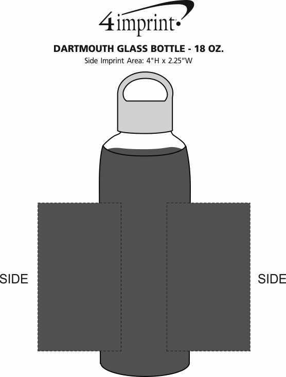 Imprint Area of Dartmouth Glass Bottle - 18 oz.