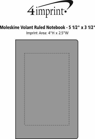 "Imprint Area of Moleskine Volant Ruled Notebook - 5-1/2"" x 3-1/2"""