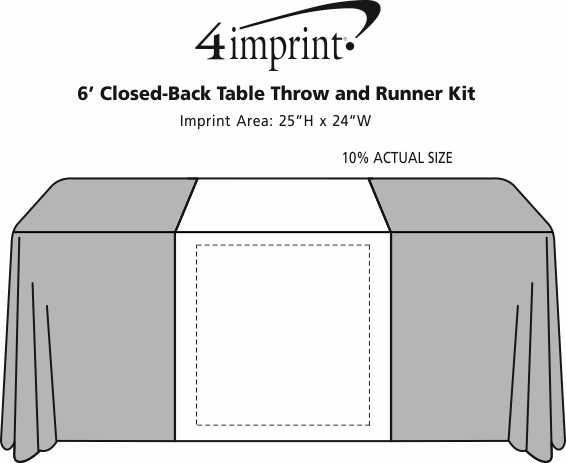 Imprint Area of Serged 6' Closed-Back Table Throw and Runner Kit
