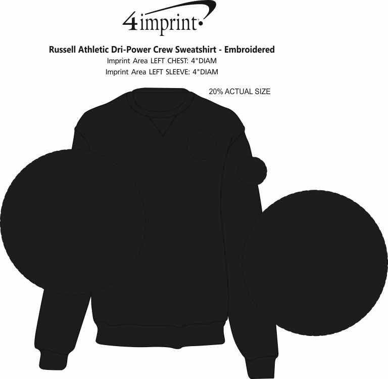 Imprint Area of Russell Athletic Dri-Power Crew Sweatshirt