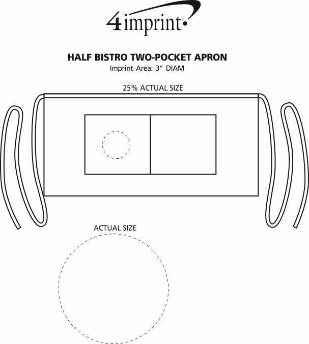 Imprint Area of Half Bistro Two-Pocket Apron