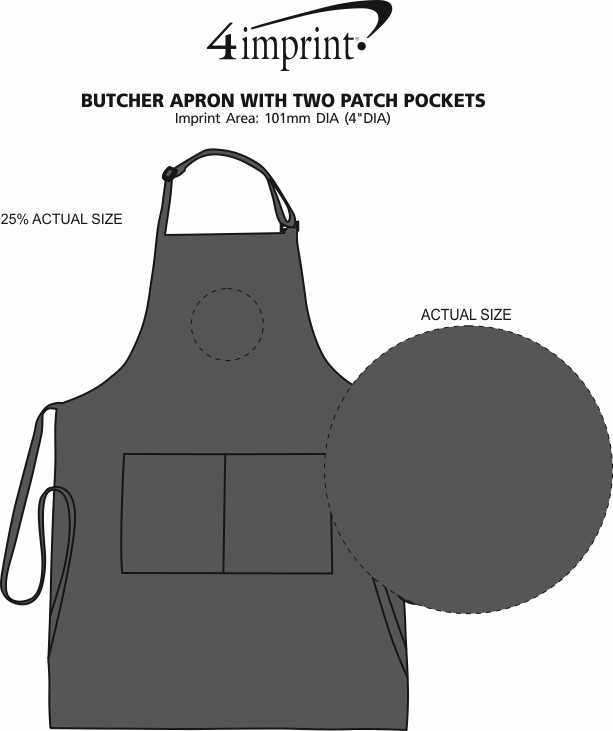 Imprint Area of Butcher Apron with Two Patch Pockets