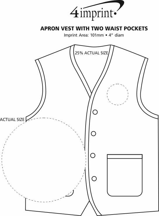 Imprint Area of Apron Vest with Two Waist Pockets