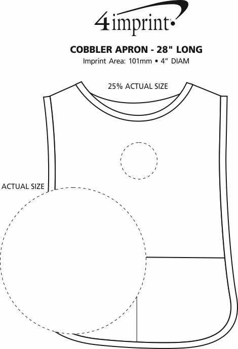 "Imprint Area of Cobbler Apron - 28"" Long"