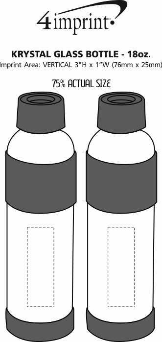Imprint Area of Krystal Glass Bottle - 18 oz. - Closeout