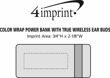 Imprint Area of Colour Wrap Power Bank with True Wireless Ear Buds