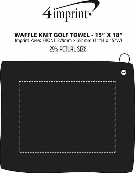 "Imprint Area of Waffle Knit Golf Towel - 15"" x 18"""