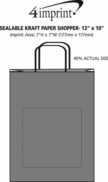 "Imprint Area of Sealable Kraft Paper Shopper - 13"" x 10"""