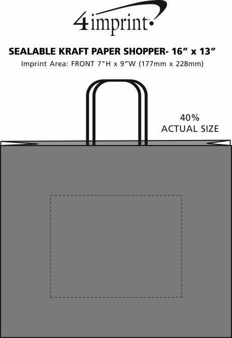 "Imprint Area of Sealable Kraft Paper Shopper - 16"" x 13"""