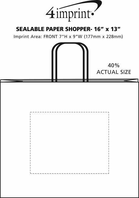 "Imprint Area of Sealable Paper Shopper - 16"" x 13"""