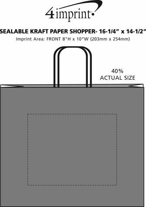 "Imprint Area of Sealable Kraft Paper Shopper - 16-1/4"" x 14-1/2"""