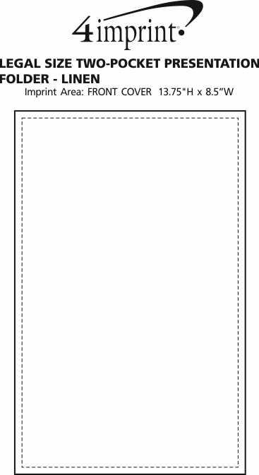 Imprint Area of Legal Size Two-Pocket Presentation Folder - Linen