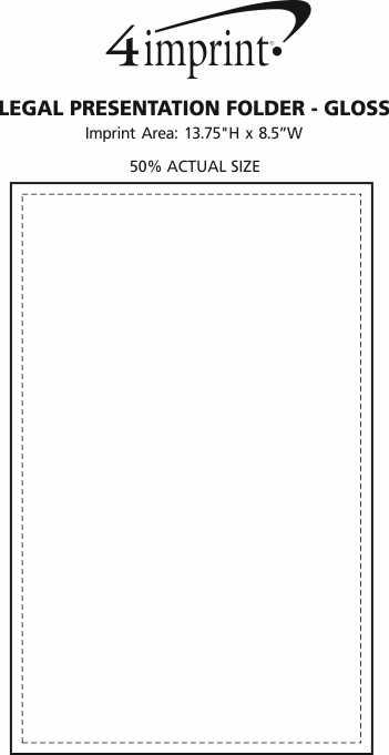 Imprint Area of Legal Size Two-Pocket Presentation Folder - Gloss