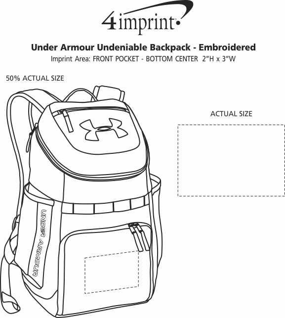 Imprint Area of Under Armour Undeniable Backpack - Full Colour