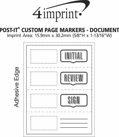 Imprint Area of Post-it® Custom Page Markers - Document