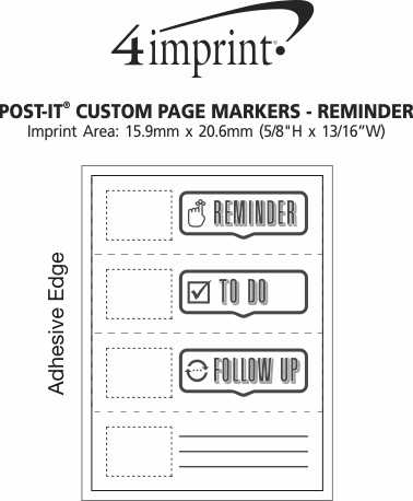Imprint Area of Post-it® Custom Page Markers - Reminder