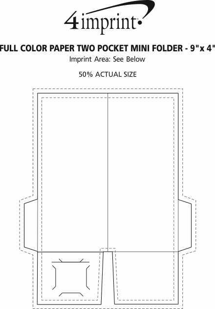 """Imprint Area of Full Colour Paper Two-Pocket Mini Folder - 9"""" x 4"""""""