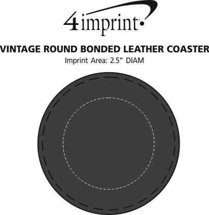 Imprint Area of Vintage Round Bonded Leather Coaster