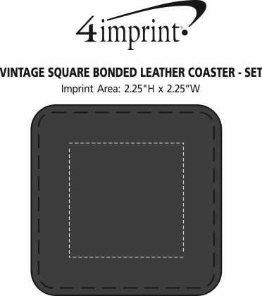 Imprint Area of Vintage Square Bonded Leather Coaster Set