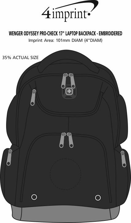"""Imprint Area of Wenger Odyssey Pro-Check 17"""" Laptop Backpack - Embroidered"""