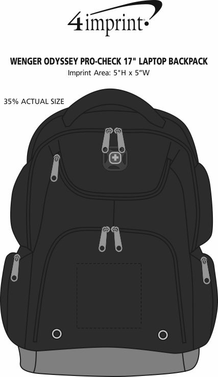"""Imprint Area of Wenger Odyssey Pro-Check 17"""" Laptop Backpack"""