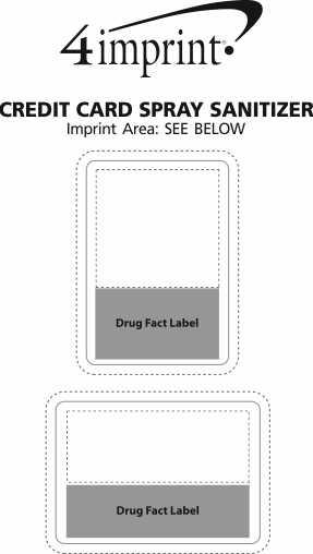 Imprint Area of Credit Card Spray Sanitizer