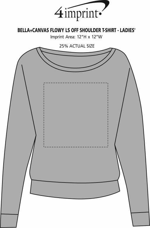 Imprint Area of Bella+Canvas Flowy LS Off Shoulder T-Shirt - Ladies'