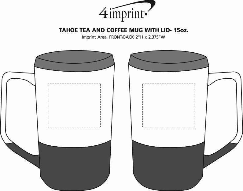 Imprint Area of Tahoe Tea and Coffee Mug with Lid - 15 oz.