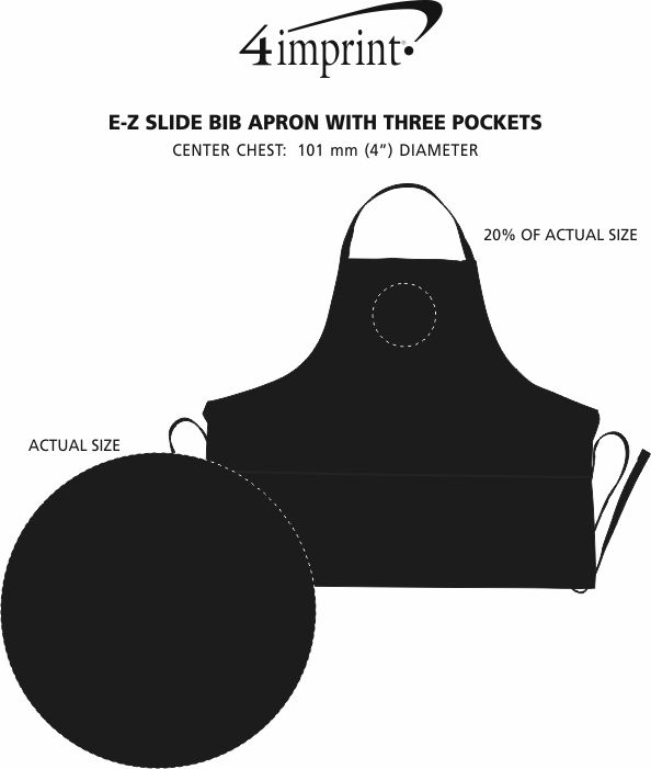 Imprint Area of E-Z Slide Bib Apron with Three Pockets