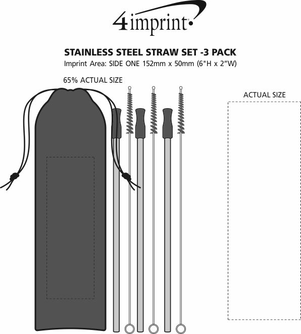 Imprint Area of Stainless Steel Straw Set - 3-pack
