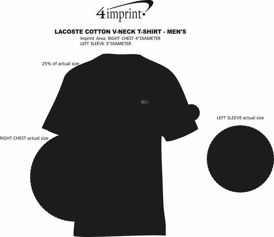 Imprint Area of Lacoste Cotton V-Neck  T-Shirt - Men's