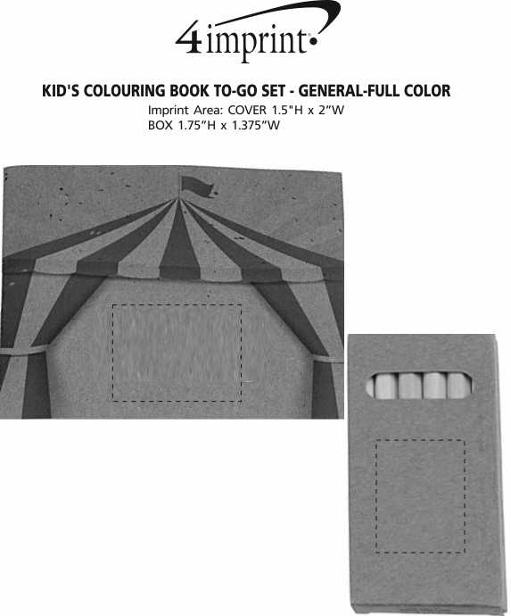 Imprint Area of Kid's Colouring Book To-Go Set - General - Full Colour