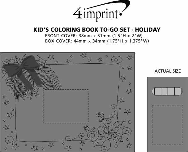 Imprint Area of Kid's Colouring Book To-Go Set - Holiday