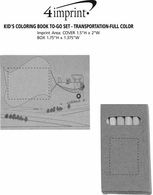 Imprint Area of Kid's Colouring Book To-Go Set - Transportation - Full Colour