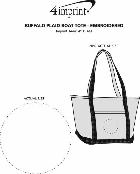 Imprint Area of Buffalo Plaid Boat Tote - Embroidered