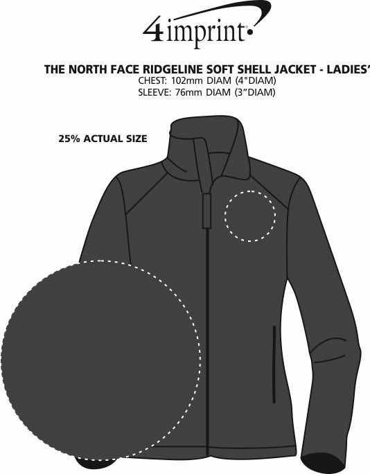 Imprint Area of The North Face Ridgeline Soft Shell Jacket - Ladies'
