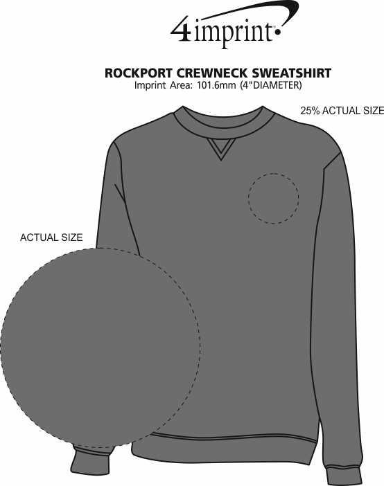 Imprint Area of Rockport Crewneck Sweatshirt