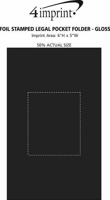 Imprint Area of Foil Stamped Legal Pocket Folder - Gloss