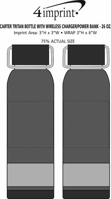 Imprint Area of Carter Tritan Bottle with Wireless Charger/Power Bank - 26 oz.