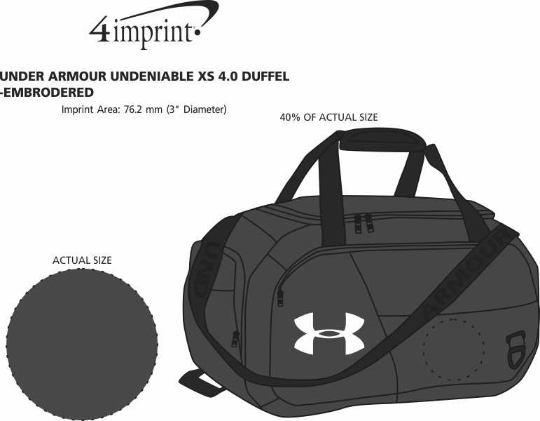 Imprint Area of Under Armour Undeniable XS 4.0 Duffel - Embroidered