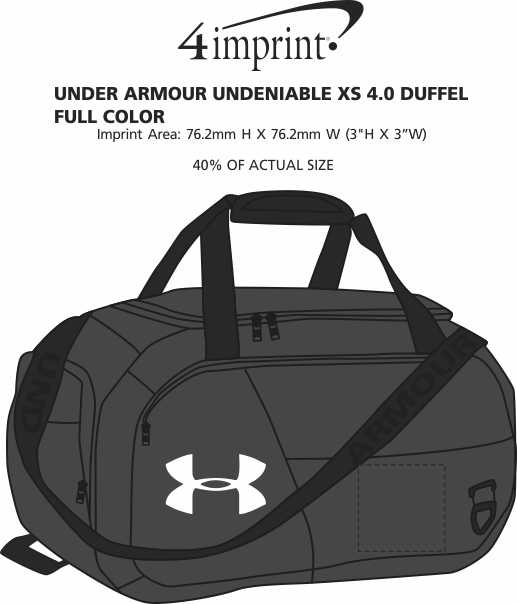 Imprint Area of Under Armour Undeniable XS 4.0 Duffel - Full Colour