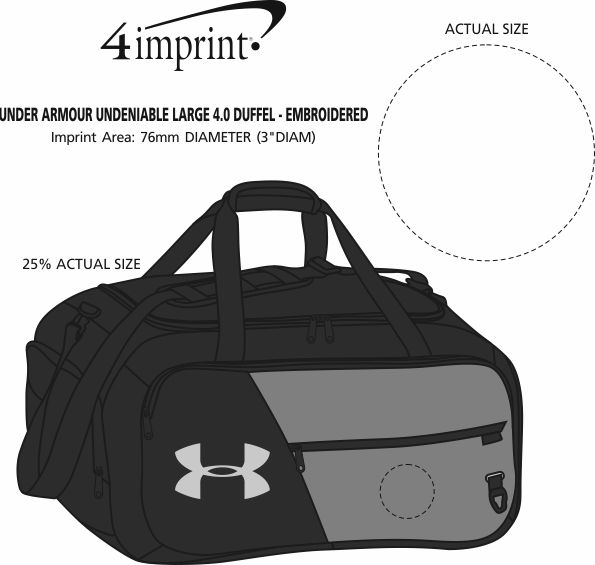 Imprint Area of Under Armour Undeniable Large 4.0 Duffel - Embroidered