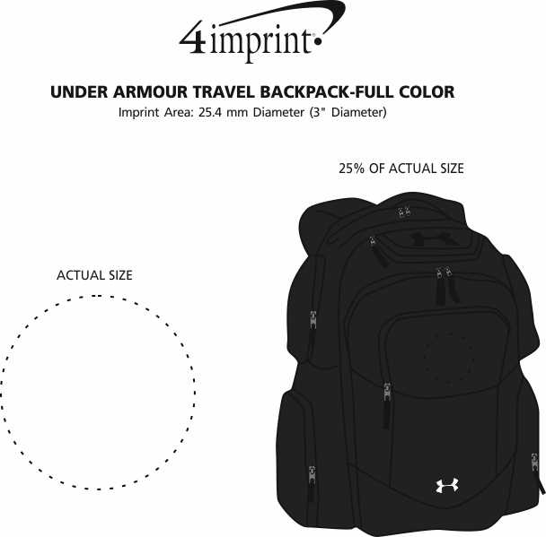 Imprint Area of Under Armour Travel Backpack - Full Colour