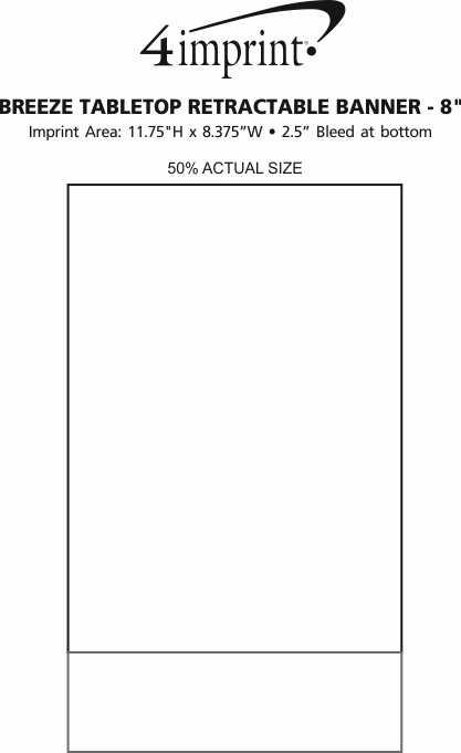"Imprint Area of Breeze Tabletop Retractable Banner - 8"""